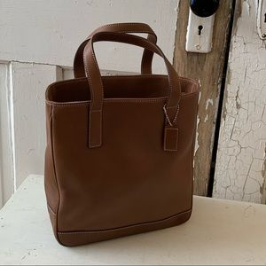Coach light brown leather tote